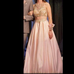 Two Piece Pastel Pink Prom Dress with beading!